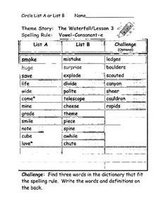 The Waterfall, Vowel-Consonant -e Worksheet