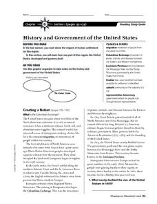 History and Government of the United States Worksheet
