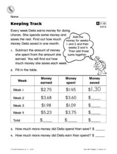 Keeping Track Worksheet
