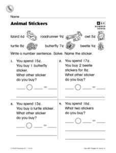 Animal Stickers Worksheet