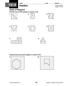 Areas of Polygons, Triangles, and Trapezoids Worksheet