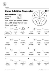 using addition strategies reteaching worksheet worksheet. Black Bedroom Furniture Sets. Home Design Ideas