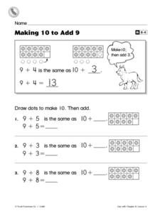 Making 10 to Add 9 Worksheet