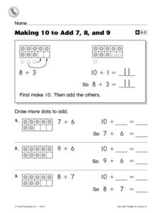 Making 10 to Add 7, 8, and 9- Reteaching Worksheet Worksheet