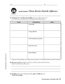China Resists Outside Influence Worksheet