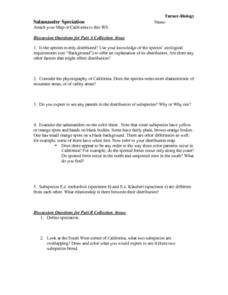 Salamander Speciation Worksheet For 7th 12th Grade Lesson Planet