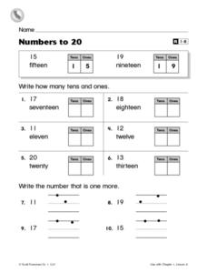 Numbers to 20: Place Value Practice Worksheet