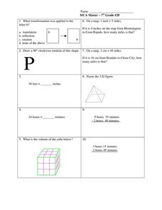 Time and Volume Worksheet