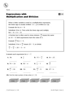Expressions With Multiplication and Division Worksheet