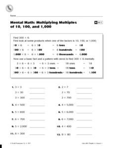 Mental Math: Multiplying Multiples of 10, 100, and 1,000 Worksheet