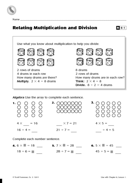 Relating Multiplication and Division R6-1 Worksheet for 3rd ...