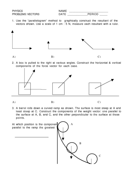 Physics Vectors Worksheet For 10th Higher Ed Lesson