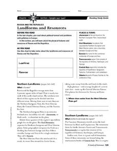 Landforms and Resources of Russia and the Republics Worksheet