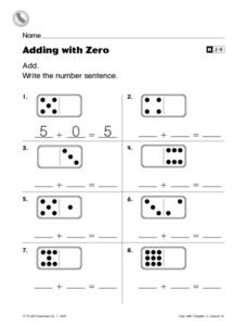 Adding With Zero Worksheet For St  Nd Grade  Lesson Planet Adding With Zero Worksheet