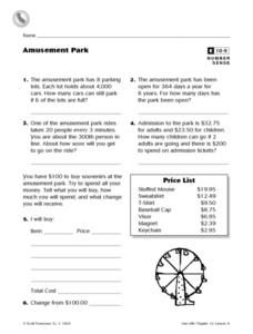 Amusement Park Worksheet