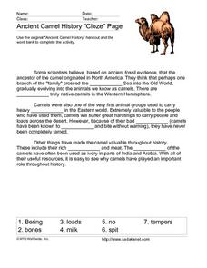 "Ancient Camel History ""Cloze"" Page Lesson Plan"