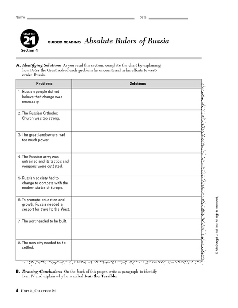 6th Grade Social Studies Worksheets Russia: Absolute Rulers of Russia 6th   8th Grade Worksheet   Lesson Planet,