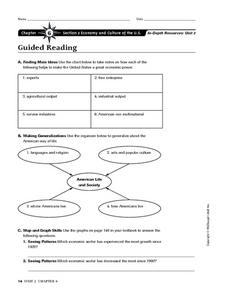 Economy and Culture of the U.S. Worksheet