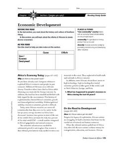 Economic Development in Southern Africa Worksheet