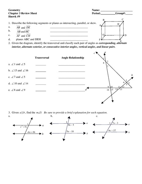 geometry chapter 3 review sheet worksheet for 7th 10th