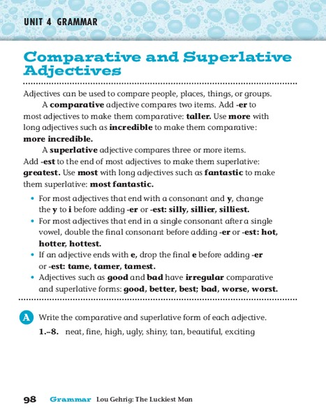 Comparative and Superlative Adjectives Worksheet