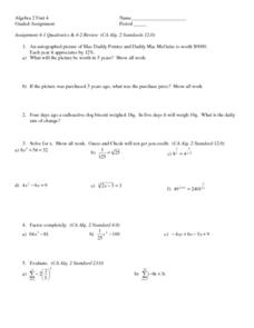 Quadratics and Parent Graphs Worksheet