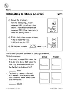 Estimating to Check Answers Worksheet