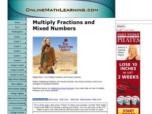 Multiply Fractions and Mixed Numbers Worksheet
