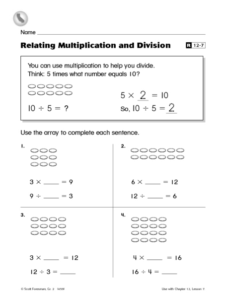Relating Multiplication and Division R12-7 Worksheet for 3rd ...