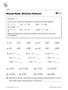Mental Math: Division Patterns- Reteaching Worksheet Worksheet