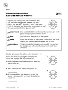 Fair and Unfair Games Worksheet