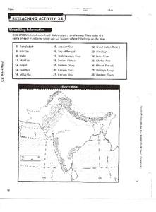 South Asian Countries and Geographical Features Worksheet