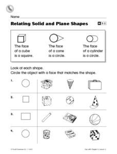 relating solid and plane shapes worksheet for 1st grade lesson planet. Black Bedroom Furniture Sets. Home Design Ideas