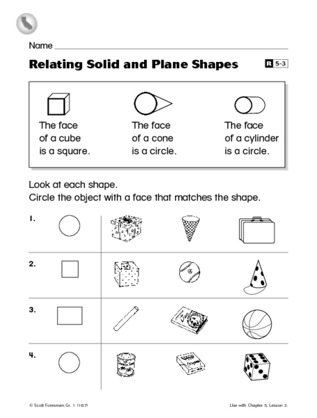 Relating Solid And Plane Shapes Worksheet For 1st Grade Lesson Planet