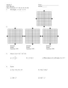 Polynomial Functions, Factoring, and Sequences Worksheet