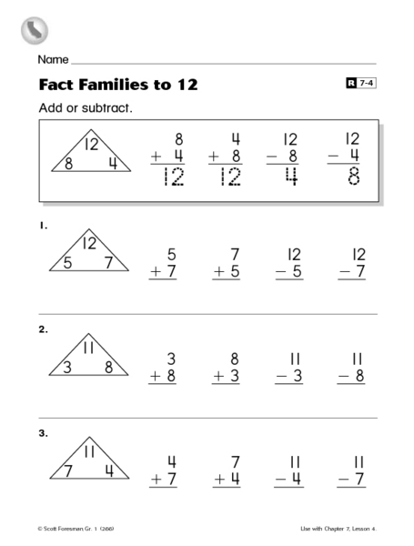 Fact Families to 12 Worksheet for 1st - 2nd Grade | Lesson ...