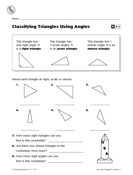 Angles and triangles worksheet grade 5
