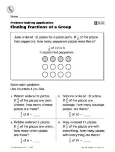 Finding Fractions of a Group Reteaching Worksheet Worksheet