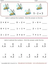 Mixed Addition and Subtraction Worksheet