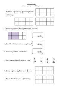 Fractions: tenths Worksheet