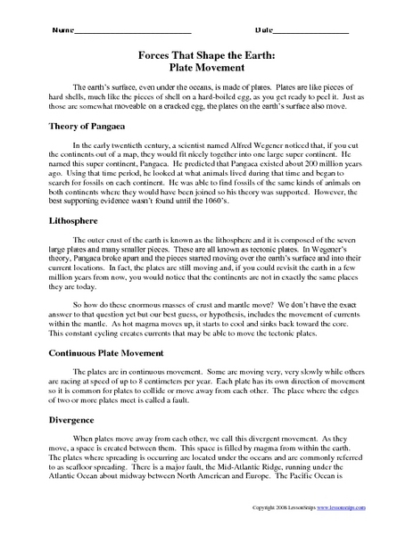forces that shape the earth plate movement worksheet for 6th 9th grade lesson planet. Black Bedroom Furniture Sets. Home Design Ideas