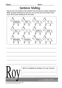 Sentence Making Worksheet