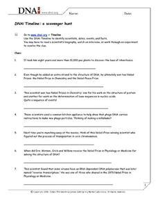 dna timeline a scavenger hunt worksheet for 9th higher ed lesson planet. Black Bedroom Furniture Sets. Home Design Ideas