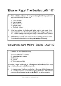 Analyzing Songs- Eleanor Rigby by the Beatles, and Le Marteau san Maitre by Boulez Worksheet