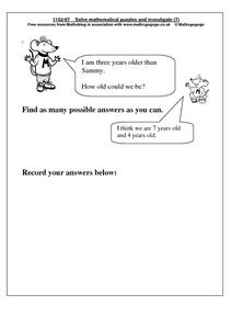 Mathematical Puzzles Worksheet