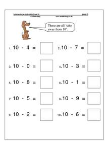 Take Away From 10 Worksheet for Kindergarten - 1st Grade ...