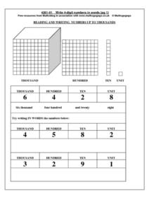 Reading and Writing Numbers up to Thousands Worksheet