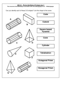 Revise Identifying 3-D Shapes Worksheet