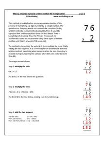 Moving Towards Standard Written Method for Multiplication Worksheet