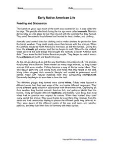 Early Native American Life Worksheet